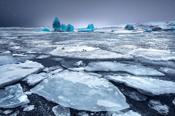 Glacial lake with icebergs - Stock Photo - Images