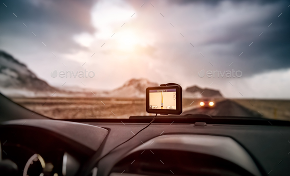 GPS navigator in the car - Stock Photo - Images