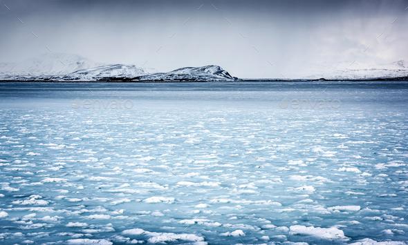 Frozen river landscape - Stock Photo - Images