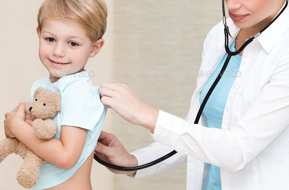 Happy boy visiting doctor - Stock Photo - Images