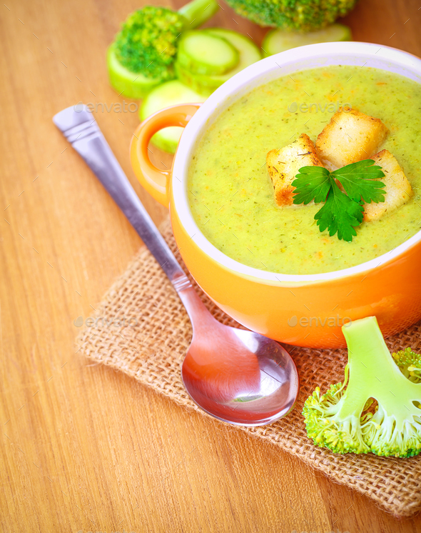 Delicious broccoli and zucchini soup - Stock Photo - Images