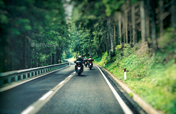 Group of bikers on the highway - Stock Photo - Images