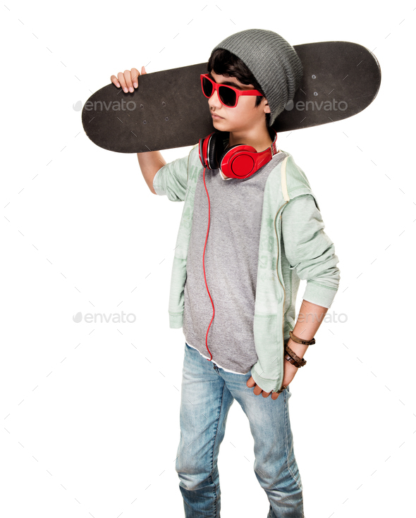 Teen boy with skateboard - Stock Photo - Images