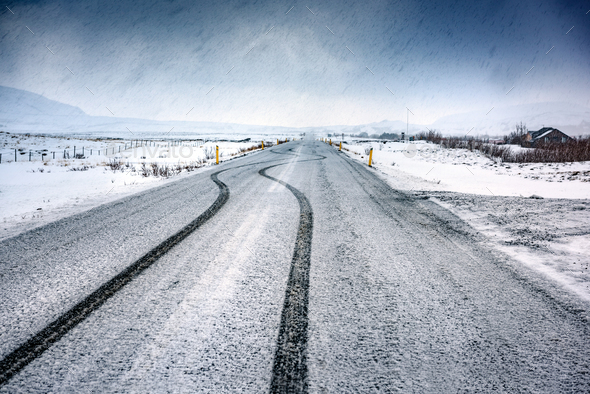 Empty snowy highway - Stock Photo - Images