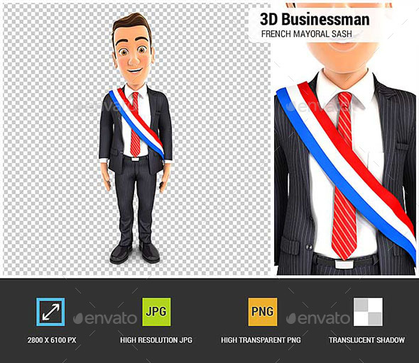 3D Businessman Wearing French Mayoral Sash - Characters 3D Renders