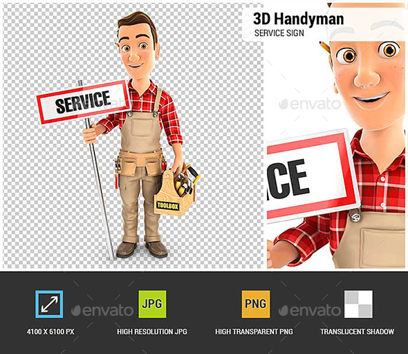 3D Handyman with Service Sign and Toolbox - Characters 3D Renders