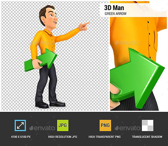 3D Man Holding Green Arrow and Pointing Direction - Characters 3D Renders