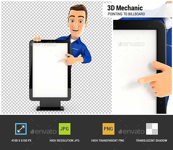 3D Mechanic Pointing to Blank Billboard - Characters 3D Renders
