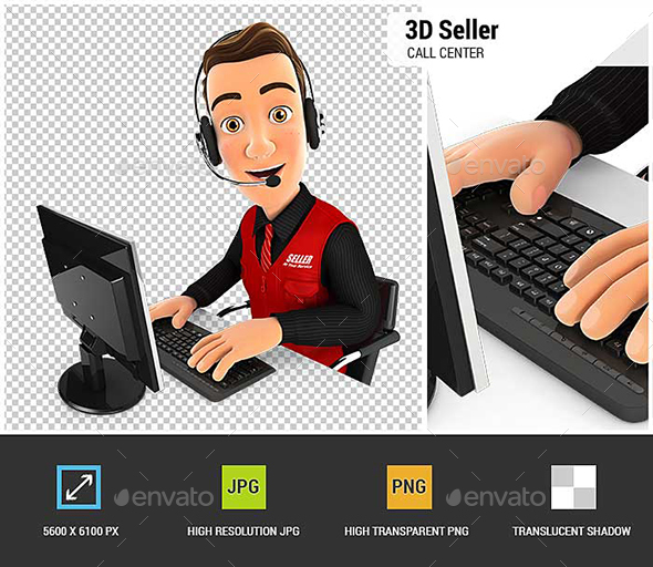 3D Seller Call Center - Characters 3D Renders