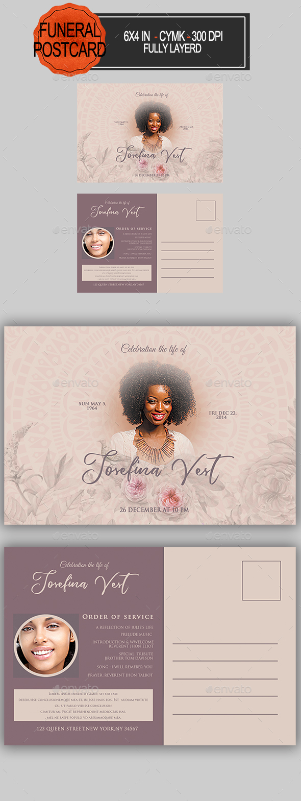 GraphicRiver Funeral Program Postcard 21201383