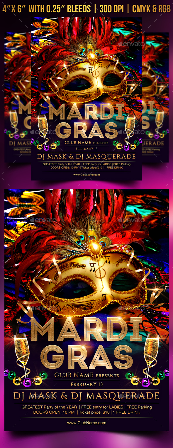 GraphicRiver Mardi Gras Flyer Template 21201486