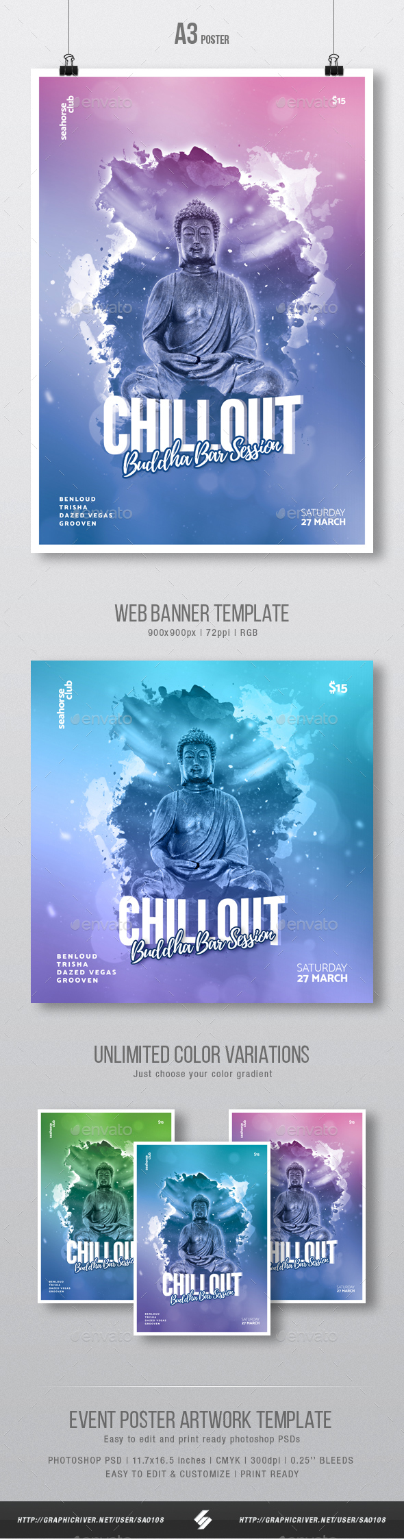 GraphicRiver Buddha Bar 4 Chillout Session Flyer Poster Artwork Template A3 21201617