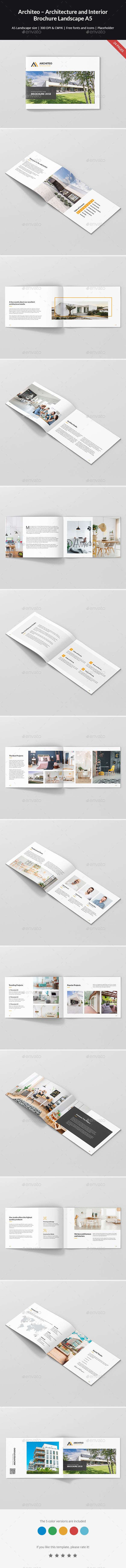 Architeo – Architecture and Interior Brochure Landscape A5 - Portfolio Brochures