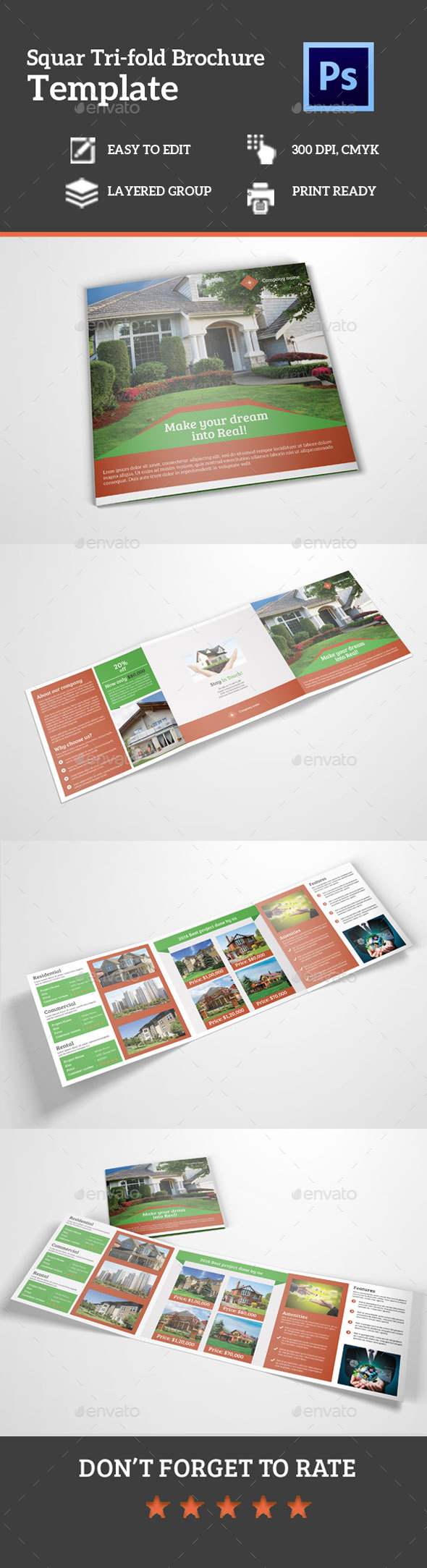 Square Tri-Fold Real Estate Brochure - Corporate Brochures