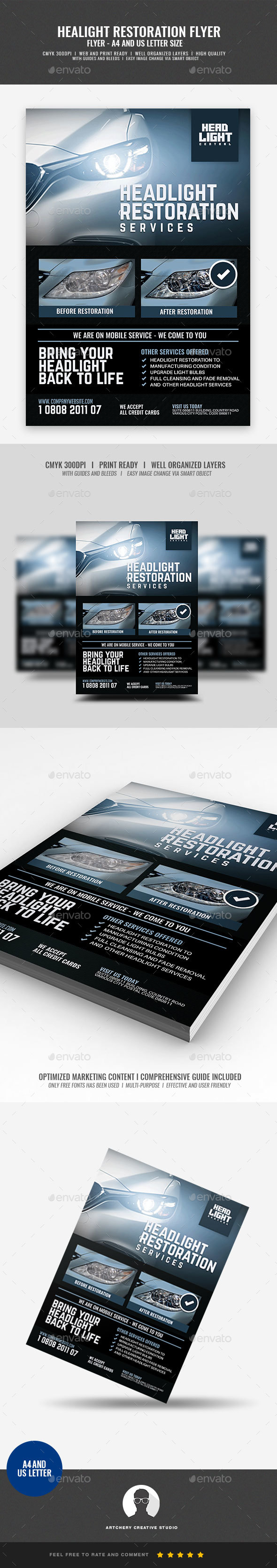 Headlight Restoration Services - Corporate Flyers