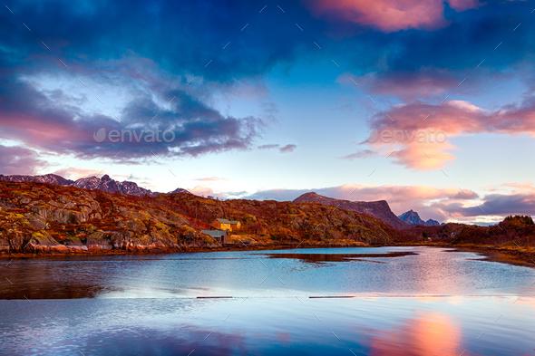Beautiful sunset landscape - Stock Photo - Images