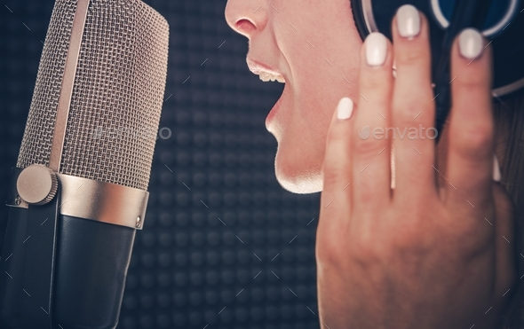 Song Recording by Singer - Stock Photo - Images