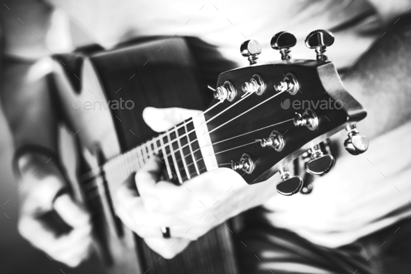 Grayscale Guitar Performance - Stock Photo - Images