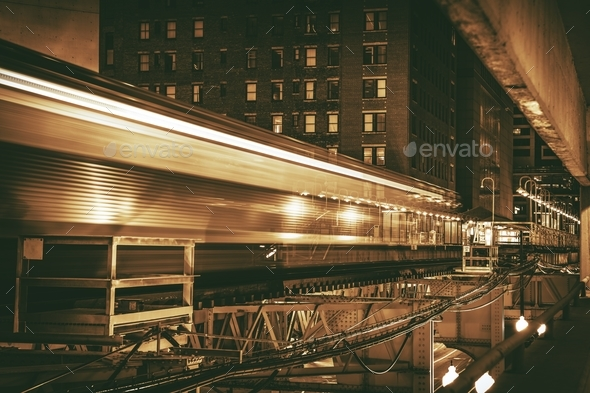 Downtown Chicago Train - Stock Photo - Images