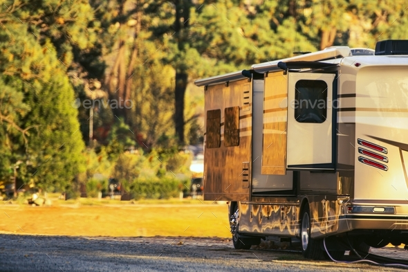 Camping in Motorhome - Stock Photo - Images