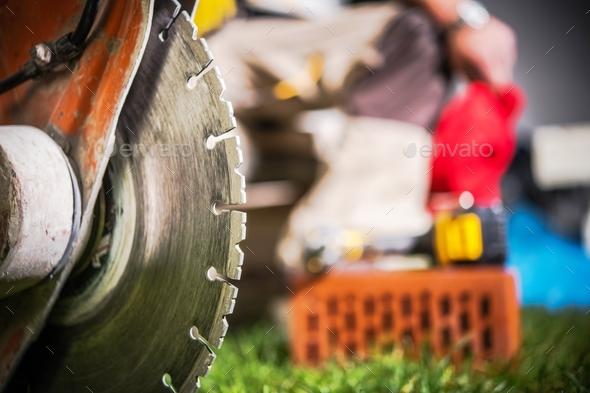 Concrete Cutter Closeup - Stock Photo - Images