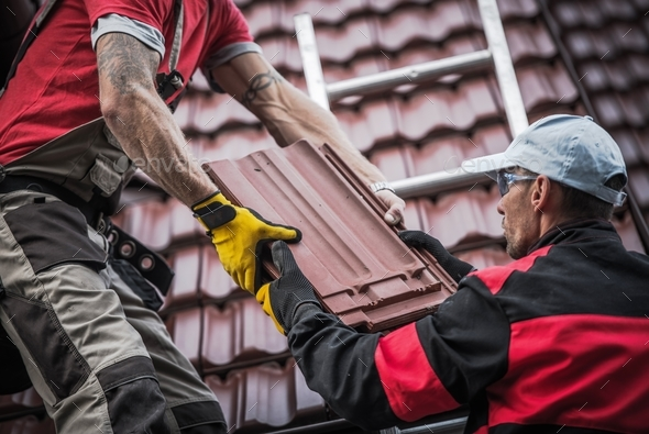 Red Roof Tiles Installation - Stock Photo - Images