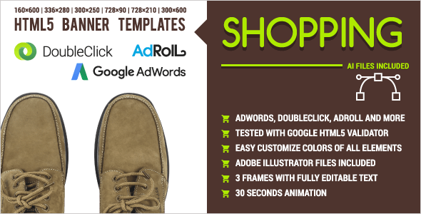 Shopping Footwear & Clothes - Animated HTML5 Banner Ad Templates (GWD) - CodeCanyon Item for Sale