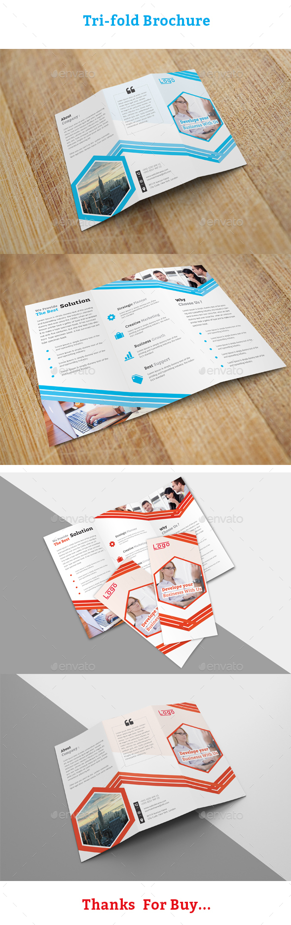 TriFold Brochure Template - Corporate Business Cards