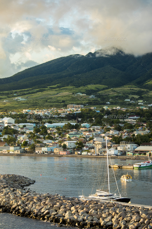 Basseterre, St Kitts with Mt Liamuiga volcano in the background - Stock Photo - Images