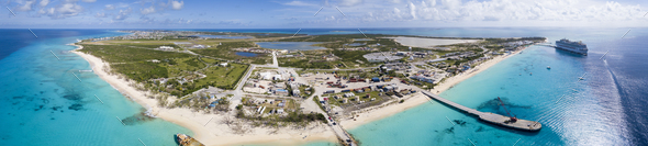 Aerial 180 degree panorama of the entire island of Grand Turk - Stock Photo - Images