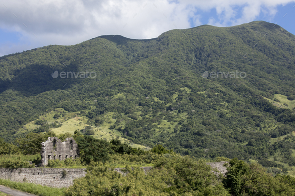 Ruins of ancient fort on the island of St Kitts in the Caribbean - Stock Photo - Images