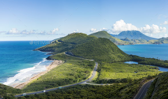 Panoramic view of St Kitts and Frigate Bay. - Stock Photo - Images