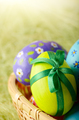 Rustic style painted easter eggs in basket on green background - PhotoDune Item for Sale