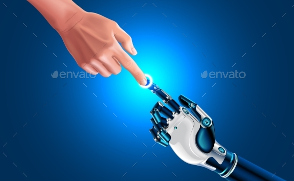 Artificial Robot Hand Touch Human Hand - Miscellaneous Conceptual