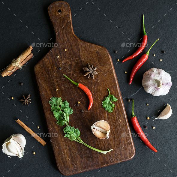 Selection of spices herbs and Ingredients for cooking - Stock Photo - Images