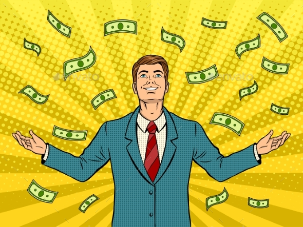 Businessman and Money Rain Pop Art Vector - Concepts Business