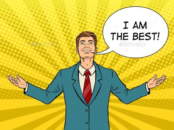 Happy Businessman Pop Art Vector - Concepts Business