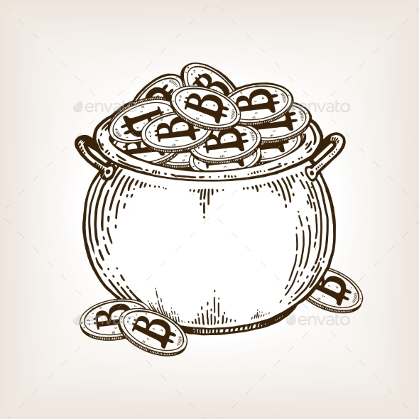 GraphicRiver Pot of Coins Engraving Vector Illustration 21202349