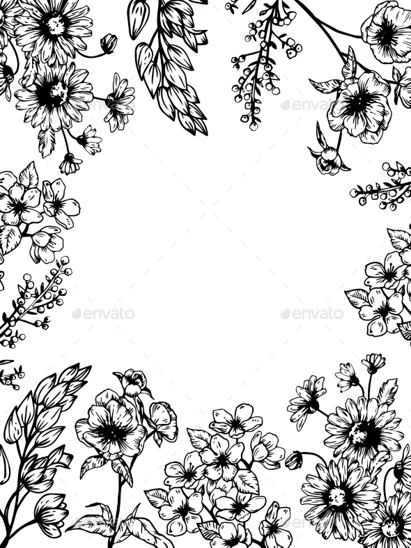 GraphicRiver Flowers and Plants Engraving Vector Illustration 21202353
