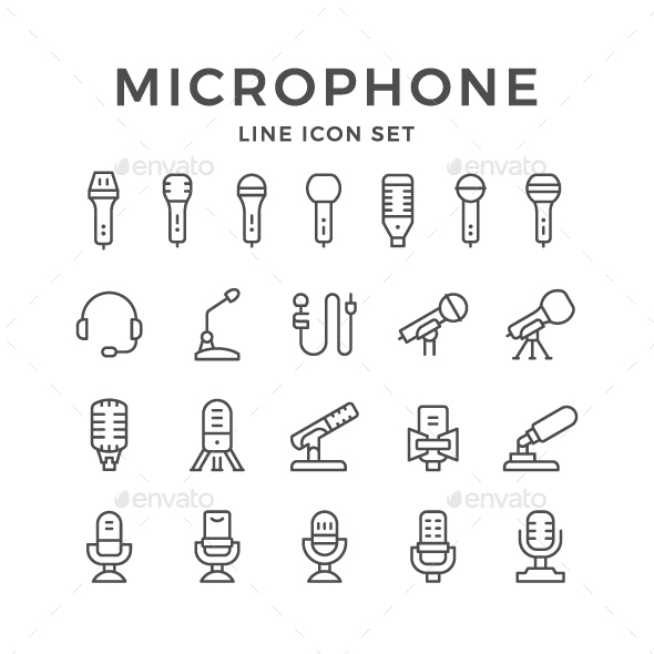Set Line Icons of Microphone - Man-made objects Objects