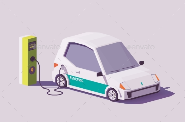 Vector Low Poly Electric Car - Man-made Objects Objects