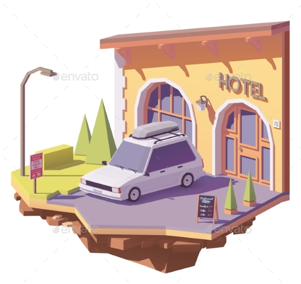 GraphicRiver Vector Low Poly Car and Hotel 21202499