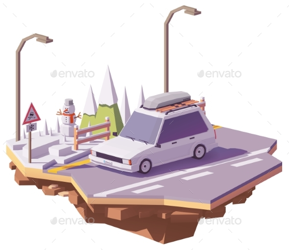 Vector Low Poly Winter Car Trip - Man-made Objects Objects