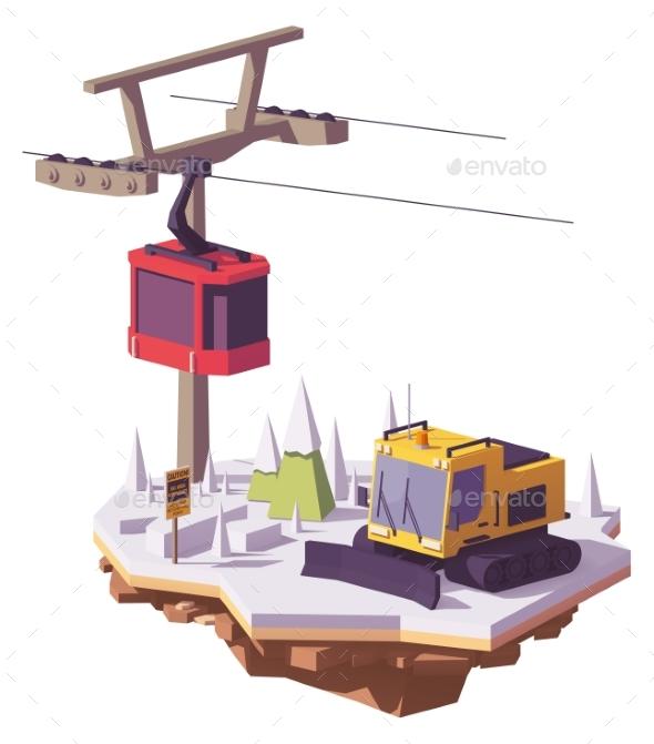 GraphicRiver Vector Low Poly Ski Resort 21202509