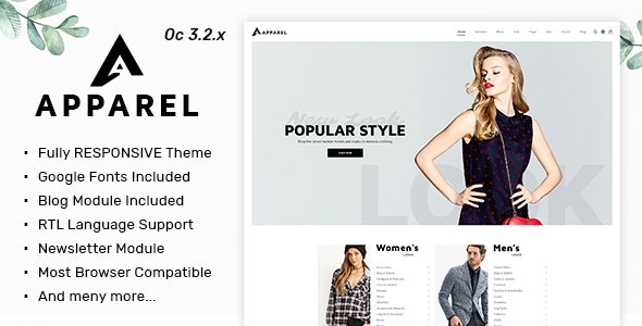 Image of Apparel - Multipurpose Responsive Fashion Opencart 3.x Theme