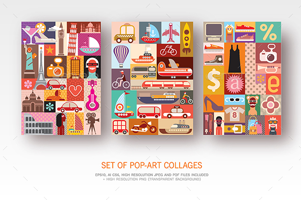 GraphicRiver Set of Pop-Art Collages 21202561