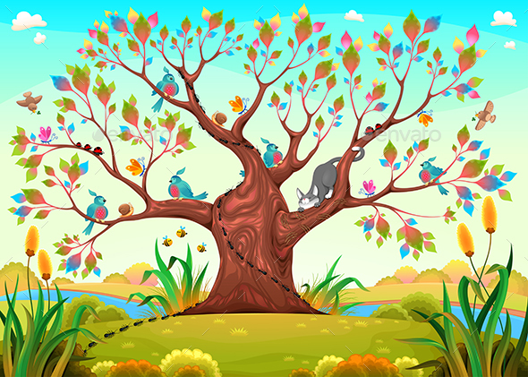 GraphicRiver Happy Tree with Birds Insects and Cat 21202596