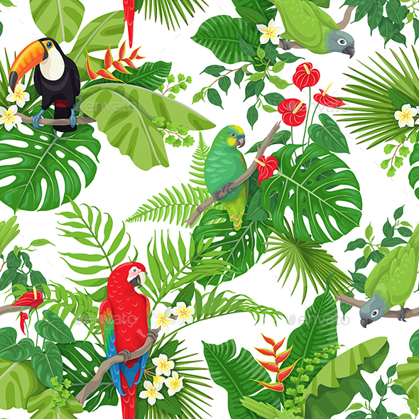 GraphicRiver Tropical Birds and Flowers Pattern 21202675