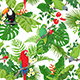 Tropical Birds and Flowers Pattern
