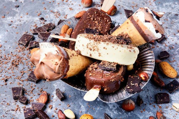 chocolate ice cream with nuts - Stock Photo - Images